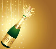 Gold Champaign greeting card. Happy New Year 2015 Royalty Free Stock Photo