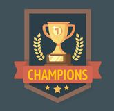 Gold Champions Cup with ribbon. Royalty Free Stock Images