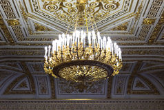 Gold chandelier in the Hermitage Museum Stock Image