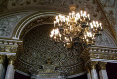 Gold Chandelier under the dome of the palace Saint Peterburg Royalty Free Stock Images