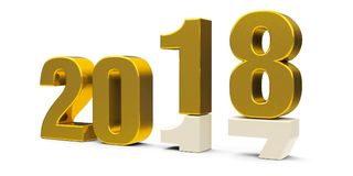 Gold 2017-2018 6. Gold 2017-2018 change represents the new year 2018, three-dimensional rendering, 3D illustration vector illustration