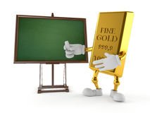 Gold character with blank blackboard Royalty Free Stock Photos