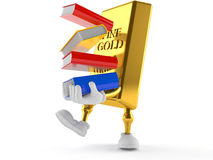 Gold character holding books. On white background Stock Images