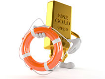 Gold character holding life buoy. On white background Royalty Free Stock Photo
