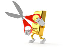 Gold character holding scissors Stock Image
