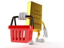 Gold character holding shopping basket. Isolated on white background Stock Photo