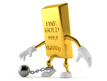 Gold character with prison ball. Isolated on white background Royalty Free Stock Photography
