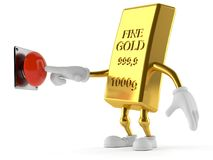 Gold character pushing button. Isolated on white background Stock Images