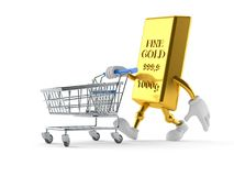 Gold character with shopping cart. Isolated on white background Stock Images