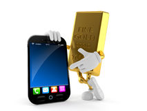 Gold character with smart phone. Isolated on white background Stock Image