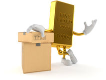 Gold character with stack of boxes. Isolated on white background Royalty Free Stock Image