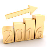 Gold chart growth on a white background Stock Photo