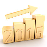 Gold chart growth 2015 year. In the picture a graph of growth Stock Photography