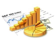 Gold chart, money, financial statement. Gold chart, money, financial statement are on white background Stock Photo
