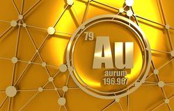 Gold chemical element. Sign with atomic number and atomic weight. Chemical element of periodic table. Molecule And Communication Background. Connected lines Royalty Free Stock Images