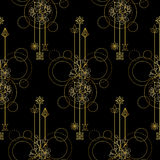 Gold Cherry Flowers Seamless Pattern Stock Images