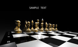 Gold chess on a black background. 3d render Stock Photo