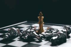 Free Gold Chess Game King Staying Victory On Chessboard Royalty Free Stock Image - 157174776