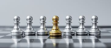 Free Gold Chess Pawn Figure Stand Out From The Crowd On Chessboard Background. Strategy, Leadership, Business, Teamwork, Different, Royalty Free Stock Photography - 208329457