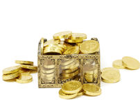 Gold. Chest of money on white stock images