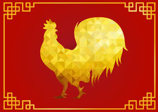 Gold chicken rooster zodiac low poly symbols on red background and gold frame for chinese new year card Stock Images