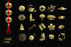 Gold chinese culture icon set traditional Stock Image