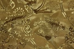 Gold Chinese Fabric Texture Royalty Free Stock Images