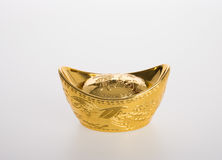 Gold or Chinese gold ingot mean symbols of wealth and prosperity Stock Photography