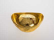 Gold or Chinese gold ingot mean symbols of wealth and prosperity Stock Photo
