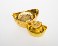 Gold or Chinese gold ingot mean symbols of wealth and prosperity Stock Photos