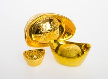 Gold or Chinese gold ingot mean symbols of wealth and prosperity. On a background stock photo
