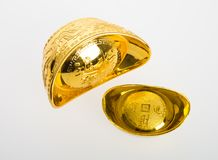 Gold or Chinese gold ingot mean symbols of wealth and prosperity. On a background stock photography