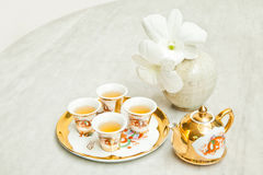 Gold chinese tea set Royalty Free Stock Photography