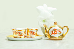 Gold chinese tea set Stock Images