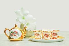 Gold chinese tea set Stock Photos