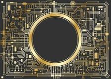Gold chipset digital background Stock Images