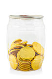 Gold chocolate coin in bottle. Stock Photos