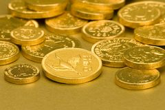 Gold Chocolate Coins Stock Photos