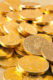 Gold chocolate coins Stock Photography