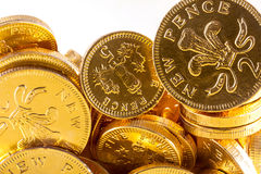 Gold chocolate money Stock Photo