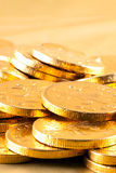 Gold chocolate money Royalty Free Stock Photo