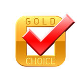 Gold choice tick Royalty Free Stock Photo
