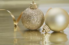 Gold Chrismas Bauble Scene Stock Images