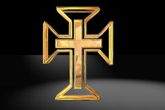 Gold Christian cross Royalty Free Stock Image