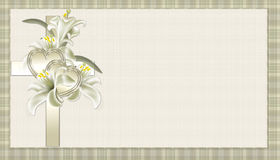 Gold Christian Cross with Flowers Background. Designed with a soft gold colored christian cross. The cross has hearts and flowers placed on it to give it beauty stock illustration