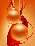 Gold christmas. Two gold christmas ball with red ribbons stock illustration