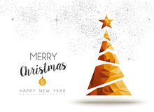 Gold Christmas And New Year Pine Tree Low Poly Art Royalty Free Stock Photography