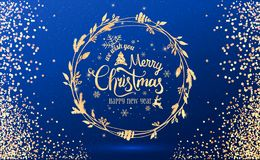 Free Gold Christmas And New Year Typographical On Blue Holiday Background With Christmas Wreath, Gold Firework, Light, Stars. Royalty Free Stock Images - 132105979