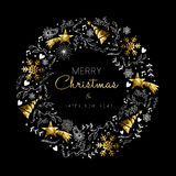 Gold Christmas And New Year Wreath Decoration Royalty Free Stock Images