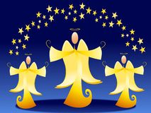Gold Christmas Angels and Stars. A clip art illustration featuring 3 golden Christmas angels with stars above their heads set against blue background Royalty Free Stock Image